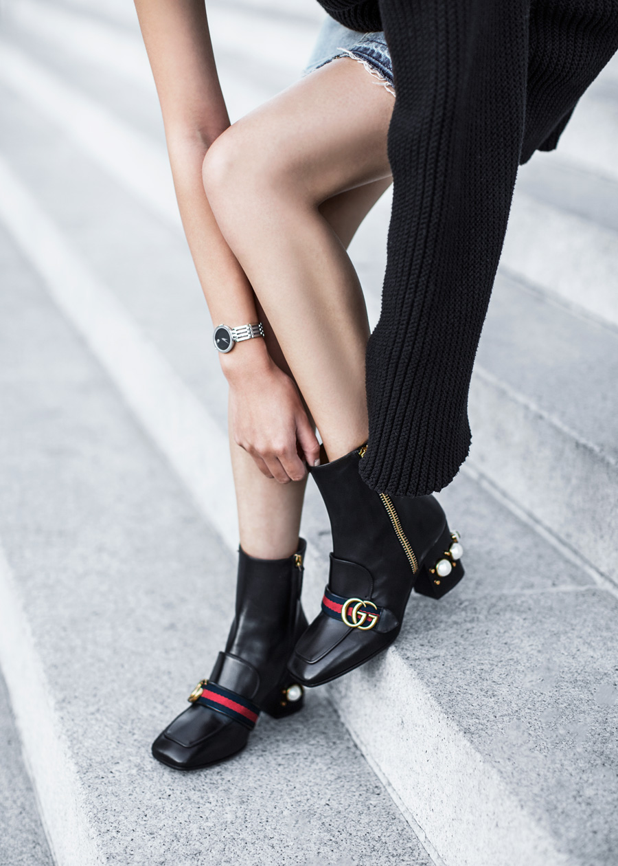 Gucci, Peyton Pearly-Heel Ankle Boot