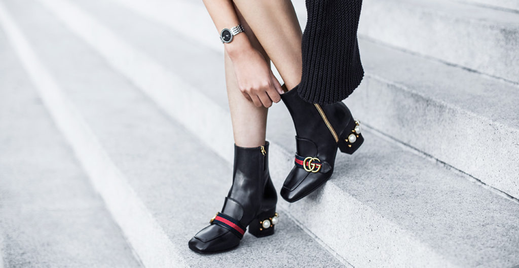 Shoe Alert: Gucci Peyton Pearly-Heel Ankle Boot