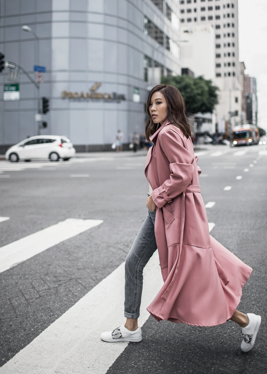 Storets, Pink Trench Coat, High Rise Mom Jeans, H&M, Agolde, Vince