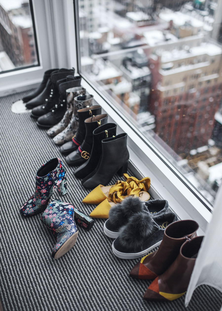 NYFW shoe collection with a view by Jenny Tsang of Tsangtastic – Gucci Pearl Boots, Sam Edelman Cambell Heeled Bootie, Sam Edelman Leya Pom Pom sneaker, Sam Edelman Brandie Pointed Toe Flat.