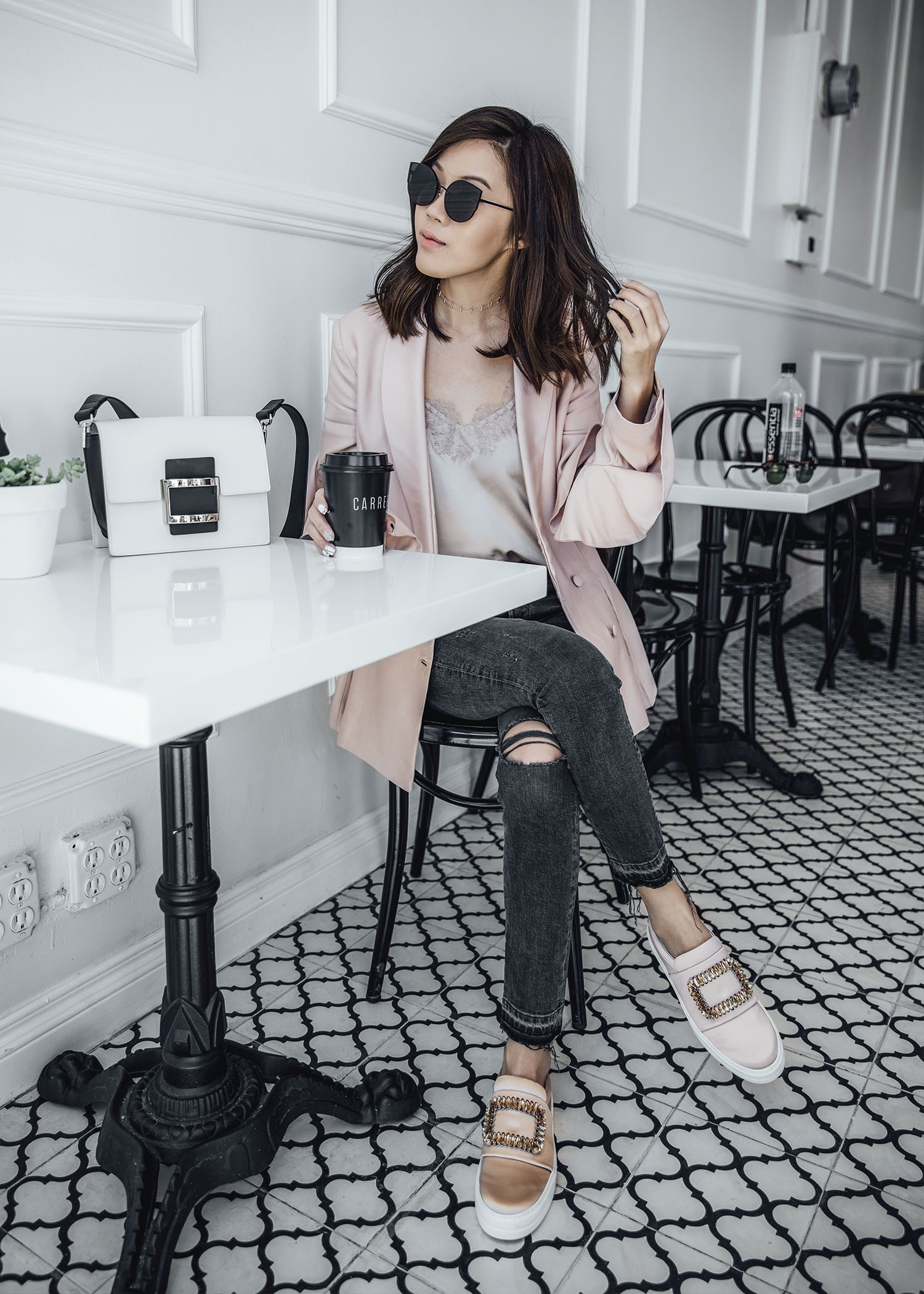 Street style fashion blogger influencer Jenny Tsang of Tsangtastic wearing C/MEO COLLECTIVE Replay Ruffle Blazer, CAMI NYC camisole, AGOLDE Skinny Grey Jeans Jeans, ROGER VIVIER Sneaky Viv in silk blush, ROGER VIVIER Viv Bag, in Los Angeles, California.