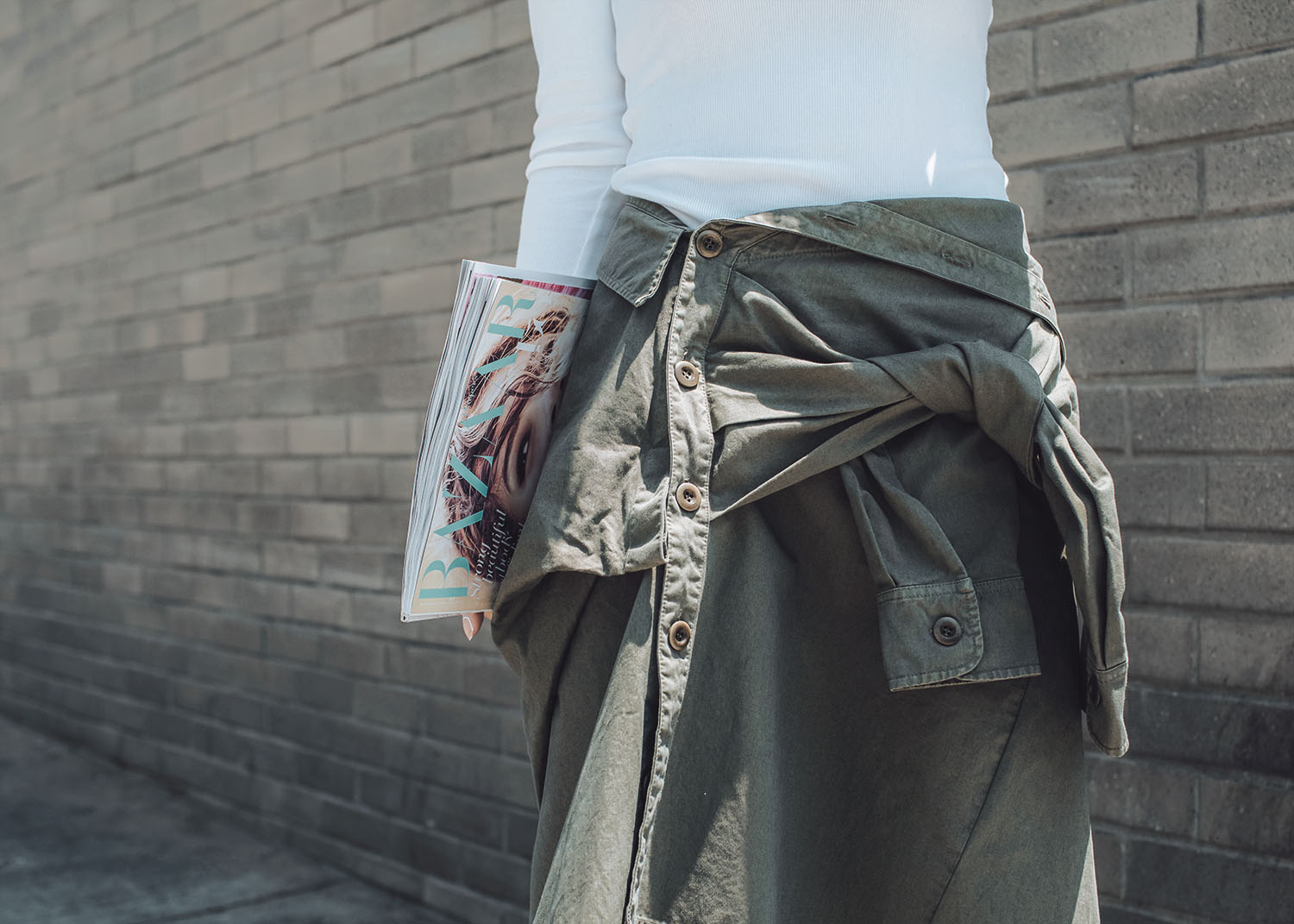 Summer Skirt Trend, Street style fashion blogger influencer Jenny Tsang of Tsangtastic wearing THE HOURS Top, FAITH CONNEXION Shirt Style Skirt, STELLA MCCARTNEY Zip Front Sneaker, in Los Angeles, California.