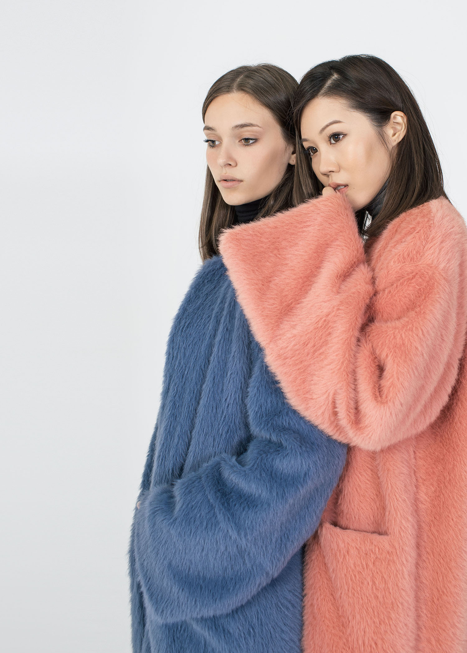 byTSANG season II fuzzy II cardigan coat in rose and stormy sky
