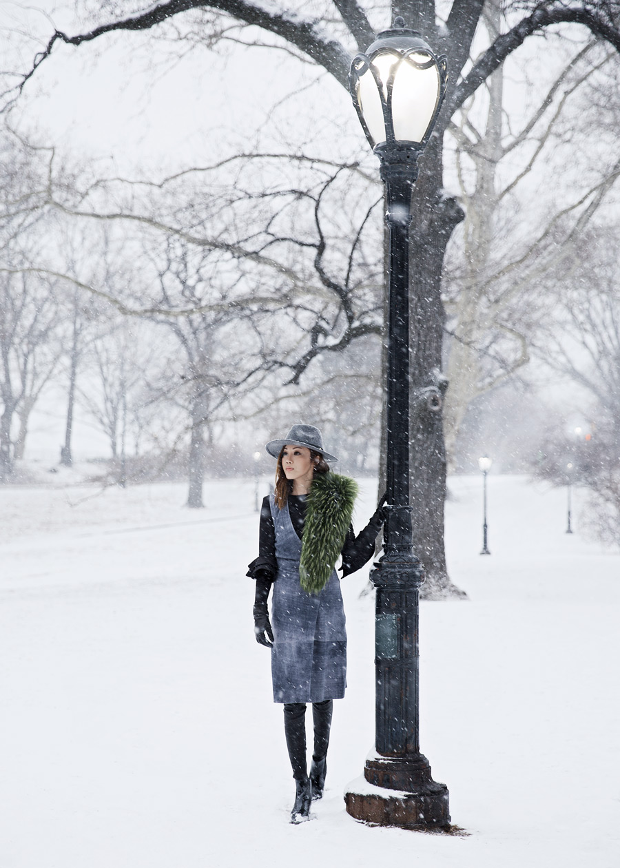 The Outnet, Iris and Ink, Vince, Suede Dress, New York Fashion Week, Snowing, Outfit