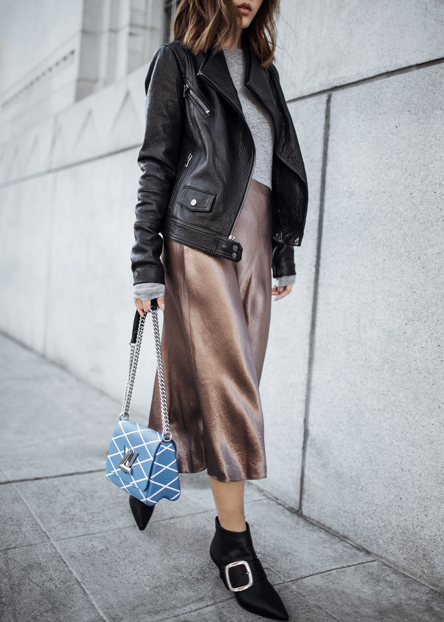 Louis Vuitton Twist, Vince, Leather Moto Jacket, Senso Buckle Ankle Boots, Satin Skirt, Vestiaire Collective