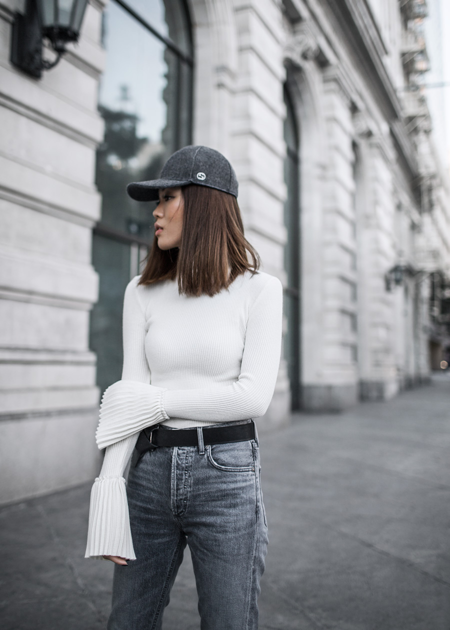 Gucci hat, Storets, Pleated sleeve, Agolde, Kendall and Kylie booties