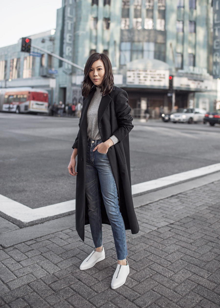 Stella McCartney, Zip Sneakers, Re/Done, Levi's, The Fifth Label, Black Long Coat, Banana Republic Cashmere, White Medusa Zip Sneakers