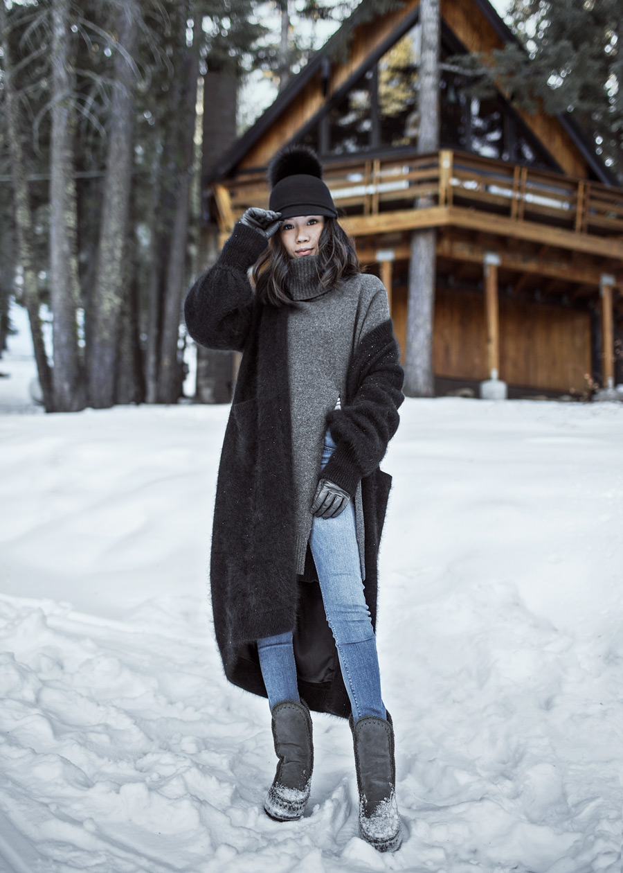byTSANG, Fuzzy Cardigan Coat, Black Fuzzy Cardigan, South Lake Tahoe, MOU Eskimo Boots