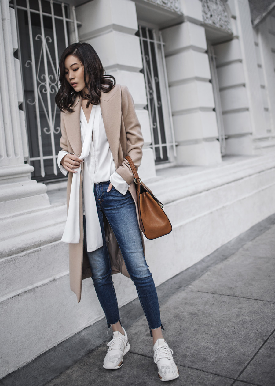 New Balance 247 Luxe, Camel Coat, 7 For All Mankind, Hi-Lo Hem Jeans, Step Hem Jeans
