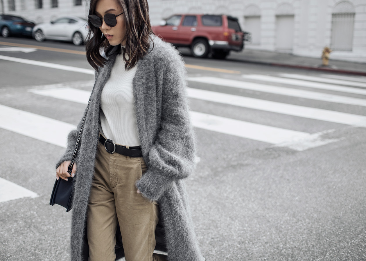 Street style fashion blogger influencer Jenny Tsang of Tsangtastic wearing BYTSANG Fuzzy Cardigan Coat in Grey, REISS Top, GENTLE MONSTER Sunglasses, CITIZENS OF HUMANITY Surplus Chino, CHANEL Navy Blue Boy Bag and TOPSHOP Max Bootie, in Los Angeles, California.