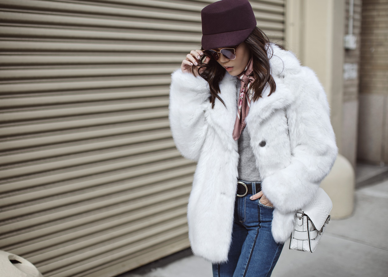 Paige, Vintage Collection, Vintage Denim, Gentle Monster, Michael Kors Faux Fur Coat, Gucci pink scarf, NYFW, Jaggar Boot