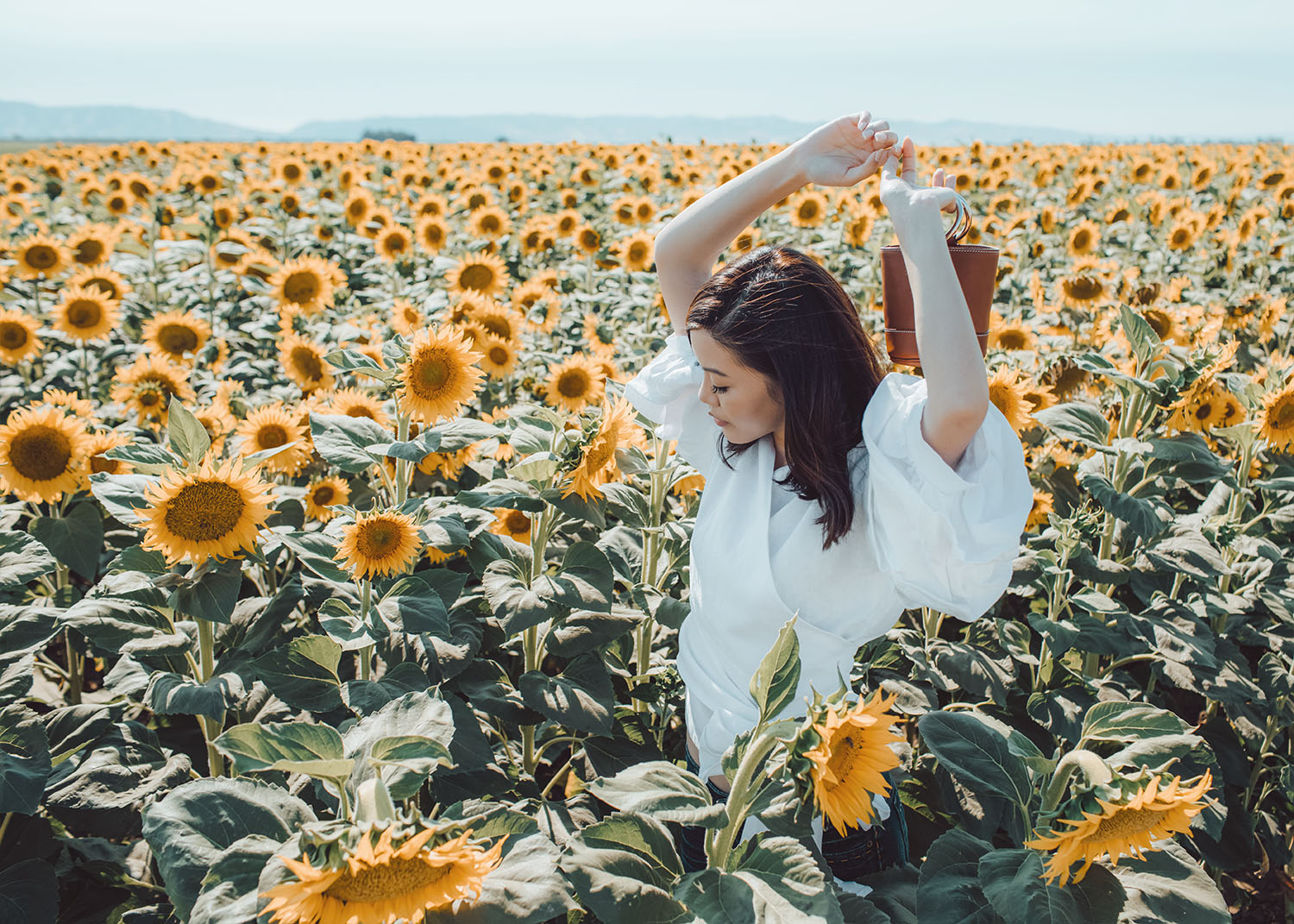 Street style fashion blogger influencer Jenny Tsang of Tsangtastic wearing white gathered ruffle puffed sleeve top denim shorts o-ring small leather bag simon miller bag in sunflower field in Davis California