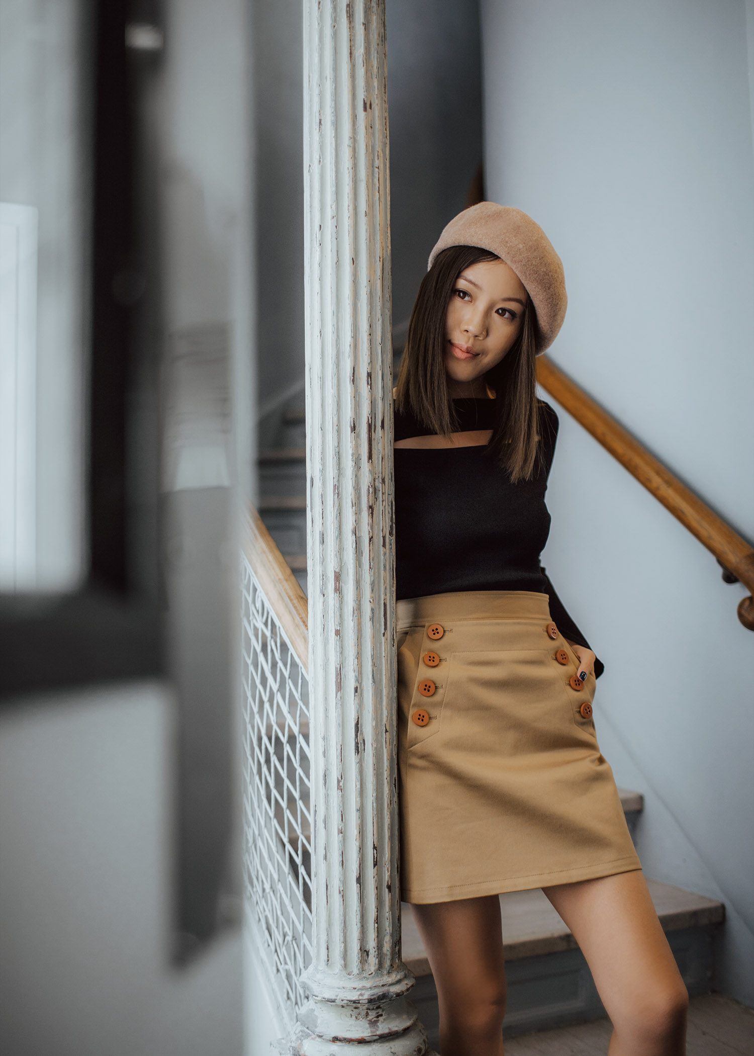 Jenny Tsang of Tsangtastic wearing customized khaki double button skirt and khaki beret