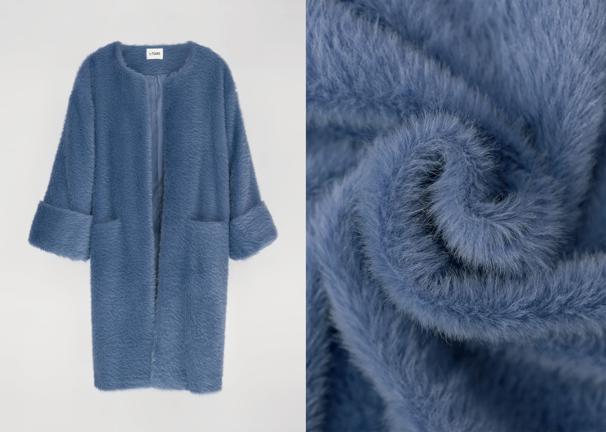 byTSANG season II fuzzy II cardigan coat in stormy sky blue