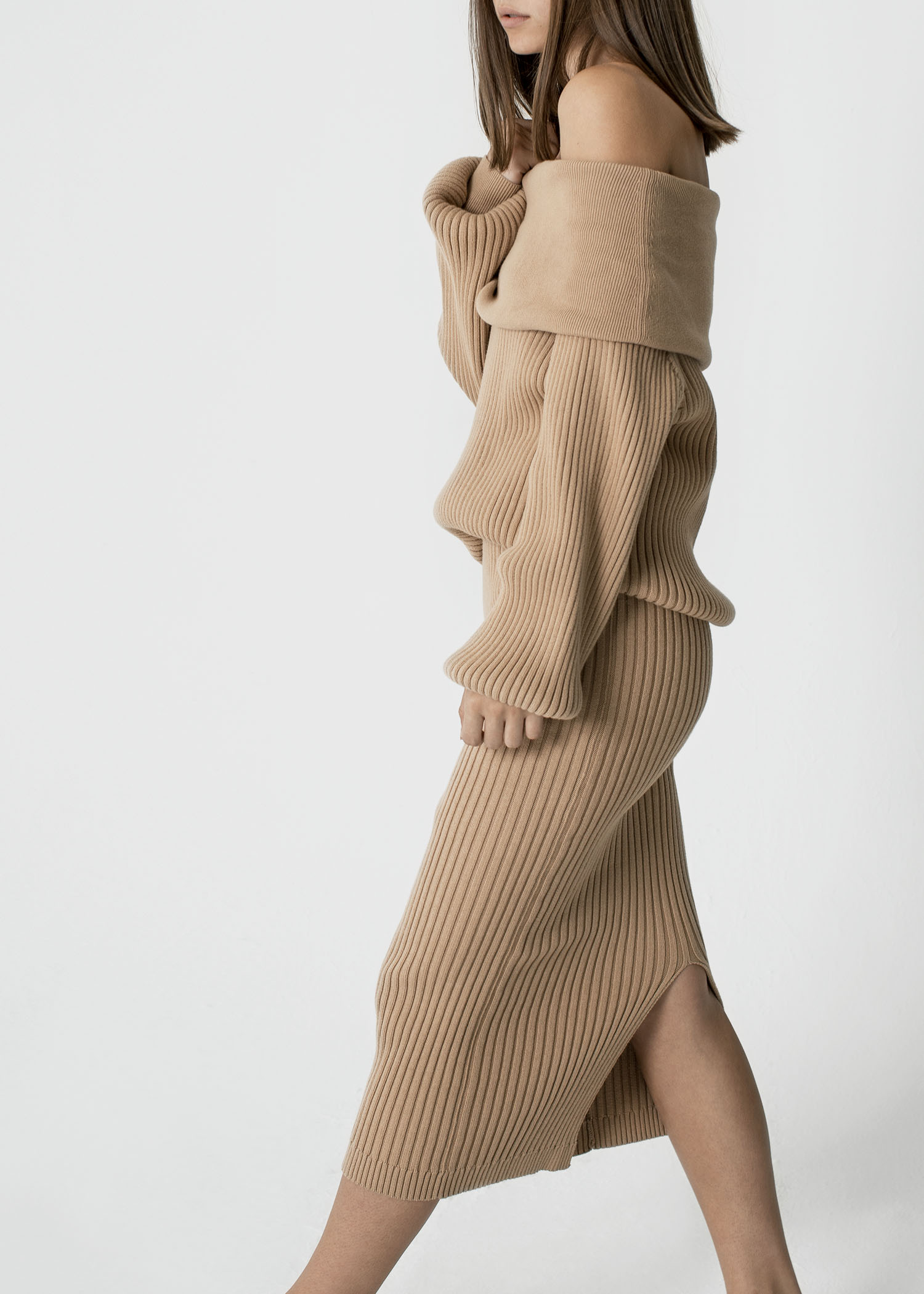 byTSANG season II knitted off shoulder sweater and skirt in biscotti