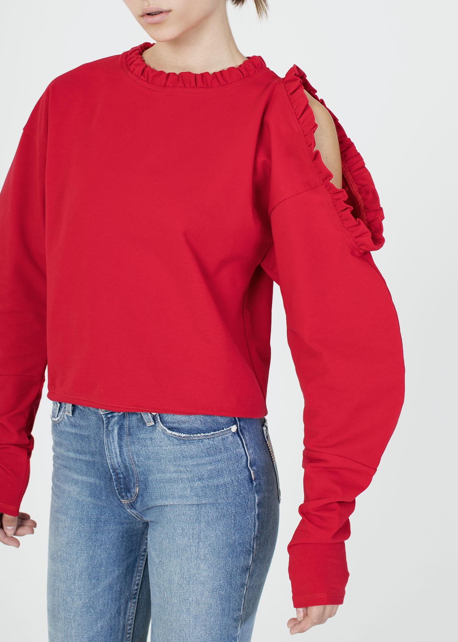 byTSANG season II ruffle peekaboo sweatshirt in scarlet
