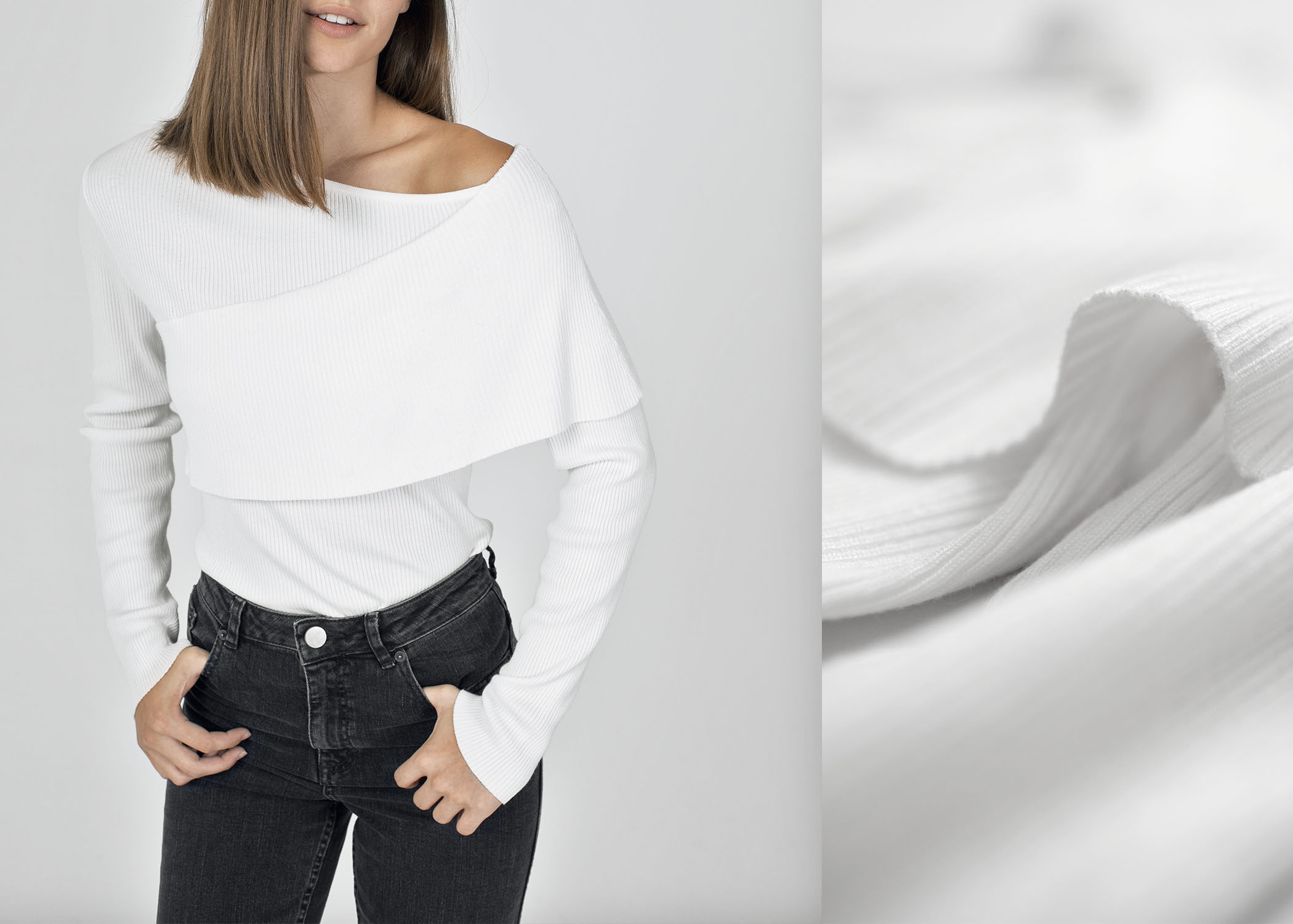 byTSANG season II crisscross one off shoulder sweater