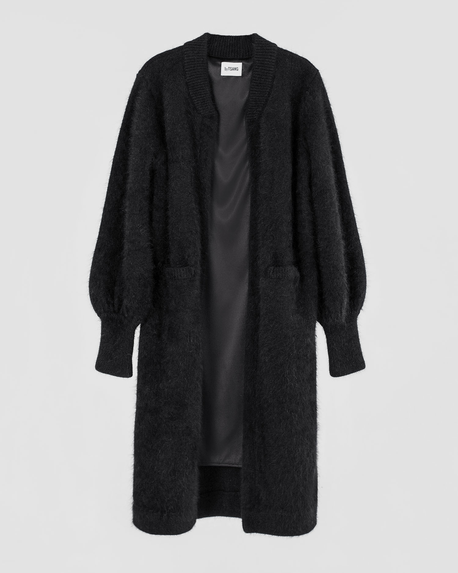 byTSANG season II fuzzy cardigan coat in midnight black