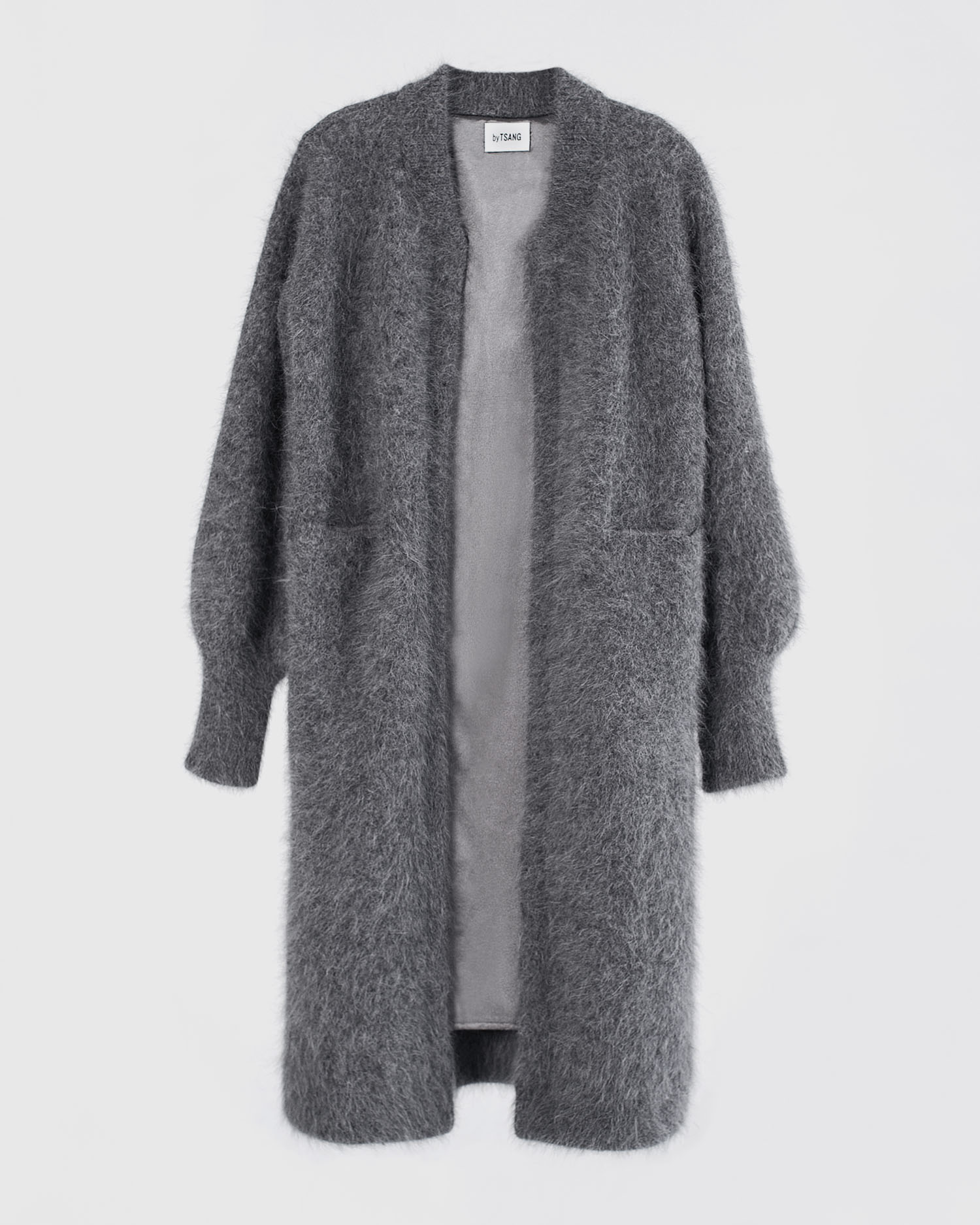 byTSANG season II fuzzy cardigan coat in dove grey