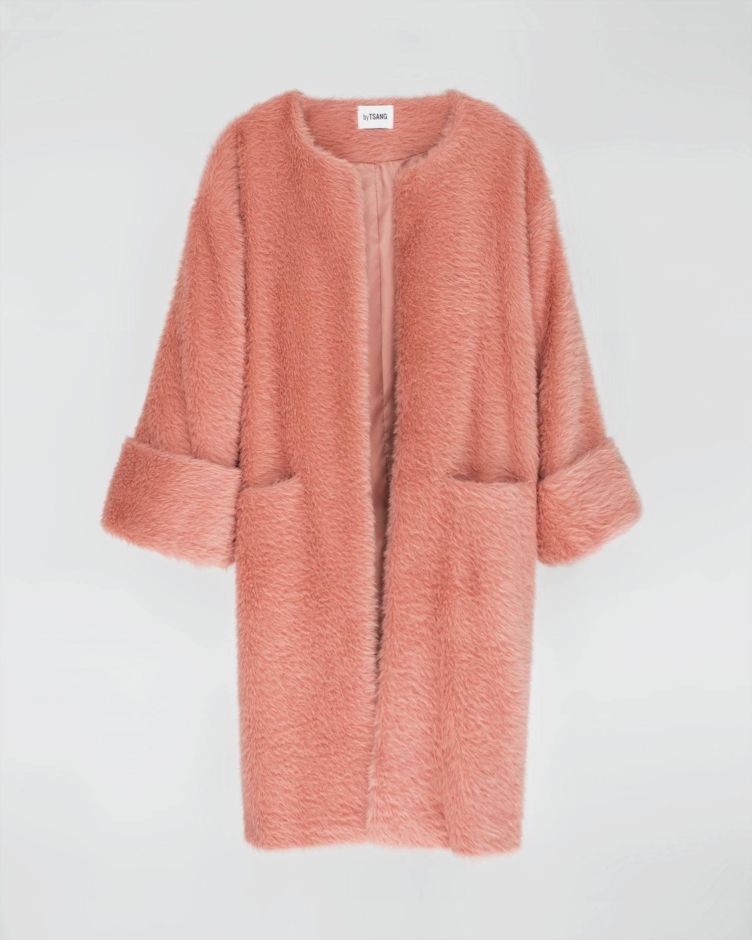 byTSANG season II fuzzy II cardigan coat in rose pink