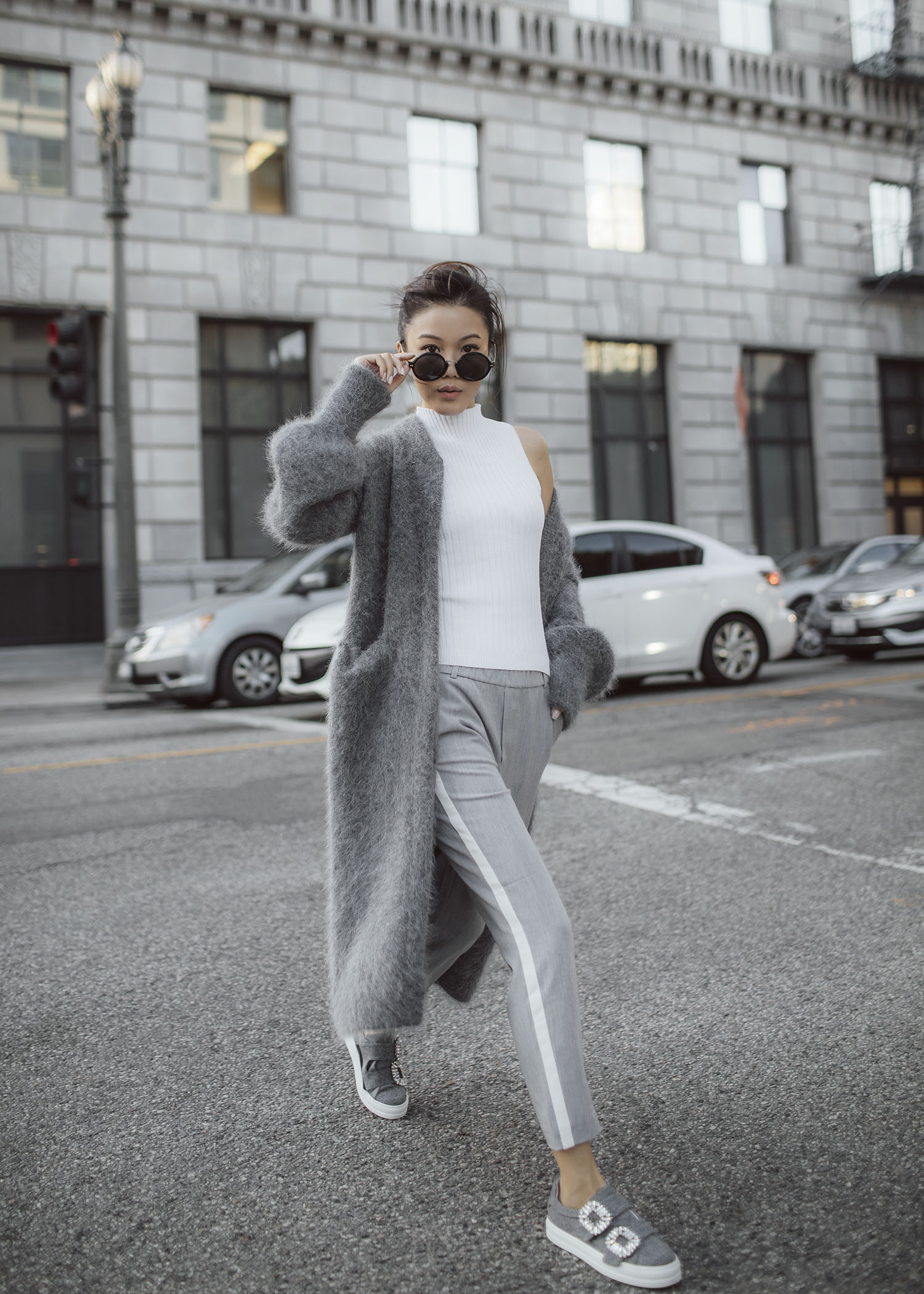 7 ways to wear the fuzzy long coat byTSANG season II the fuzzy in dove grey