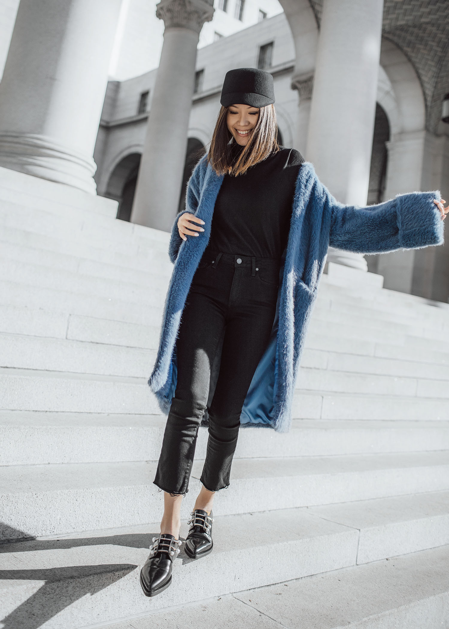 7 ways to wear the fuzzy long coat byTSANG season II the fuzzy in stormy sky blue