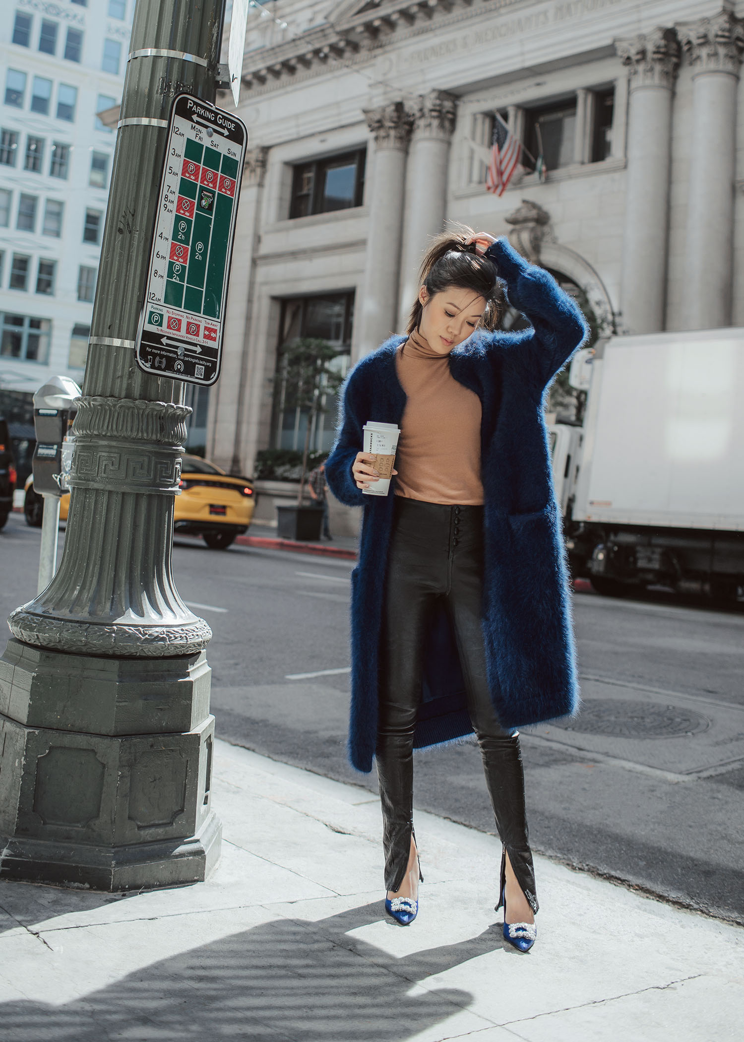 7 ways to wear the fuzzy long coat byTSANG season II the fuzzy in sea blue navy