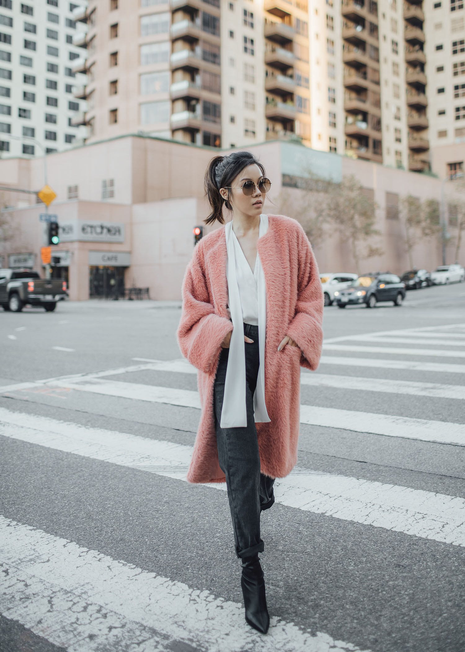 7 ways to wear the fuzzy long coat byTSANG season II the fuzzy in rose