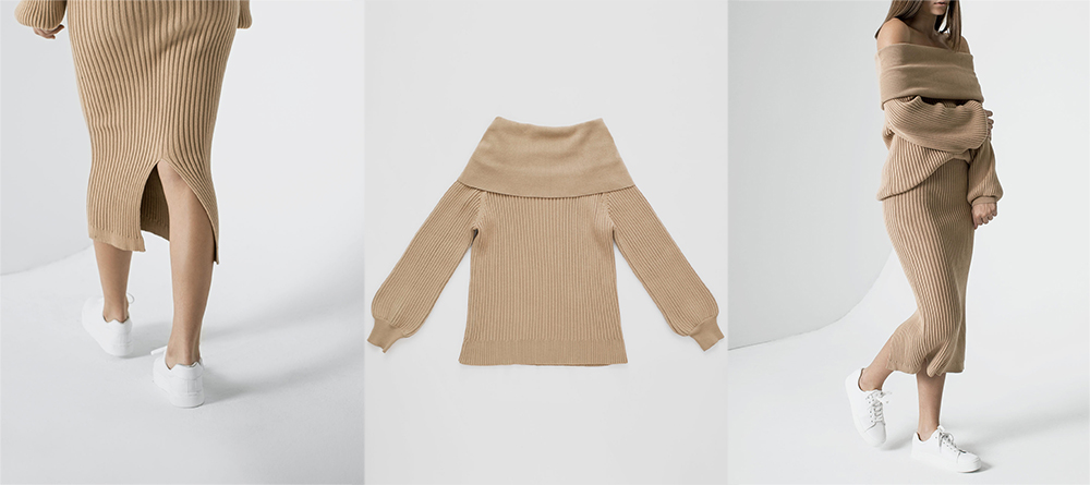 byTSANG season II knitted off shoulder sweater and skirt in biscotti khaki ribbed knit