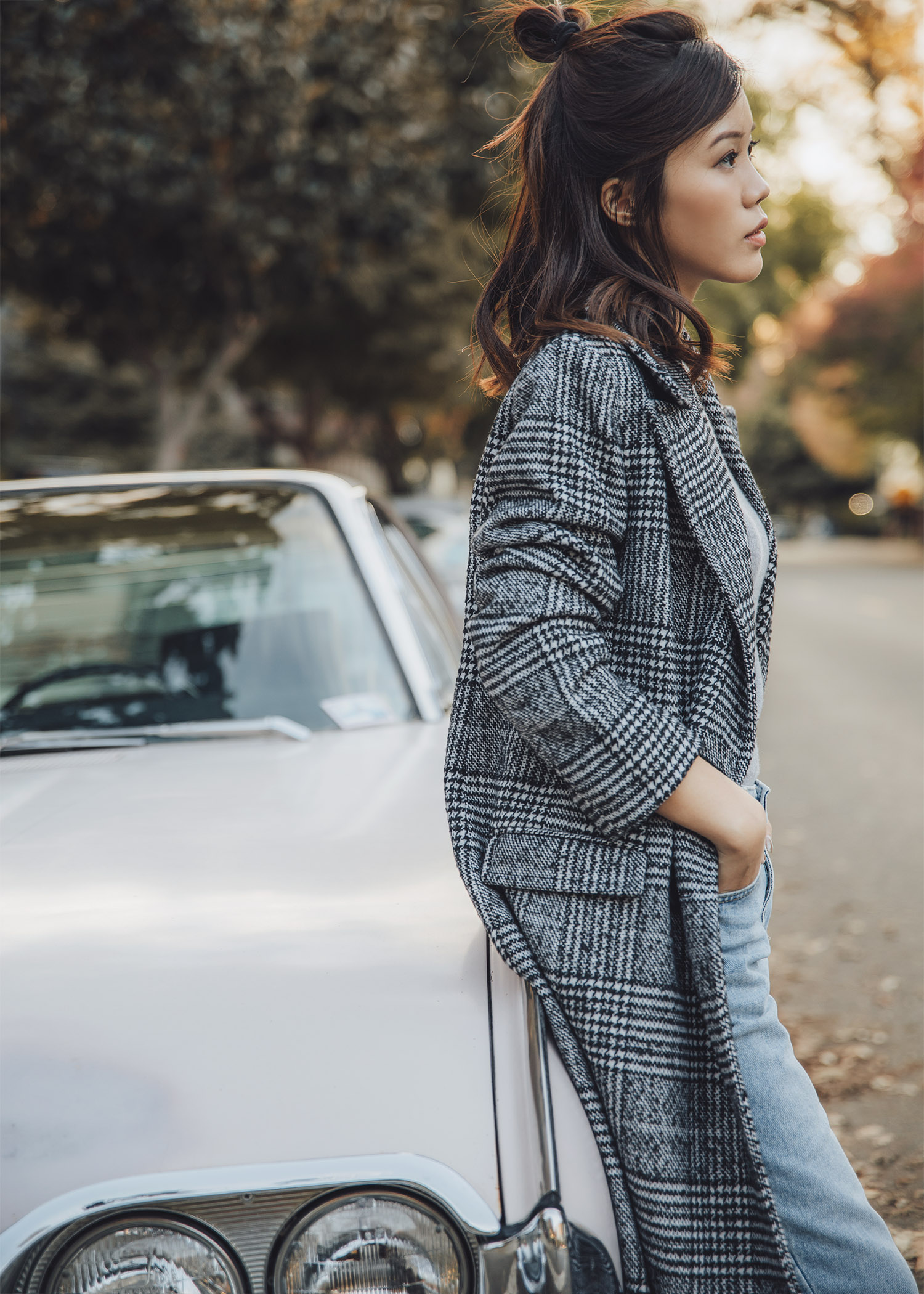Jenny Tsang of Tsangtastic wearing Plaid Boxy Double Breasted Long Coat