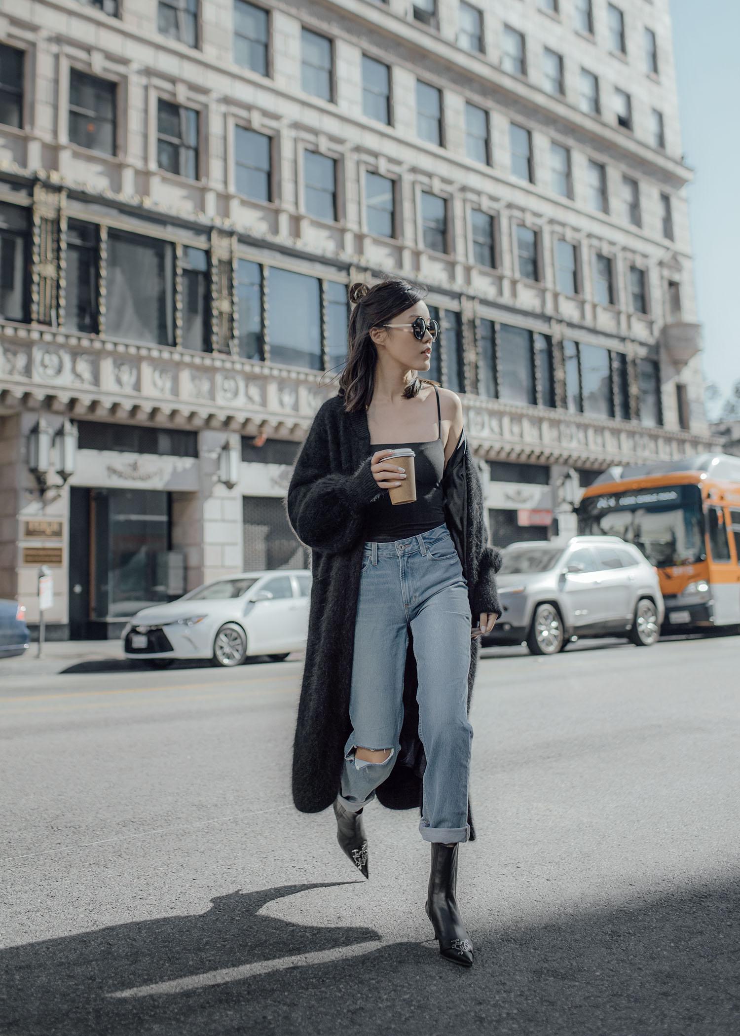bytsang fuzzy cardigan coat Jenny Tsang of Tsangtastic styling different ways to wear long coats