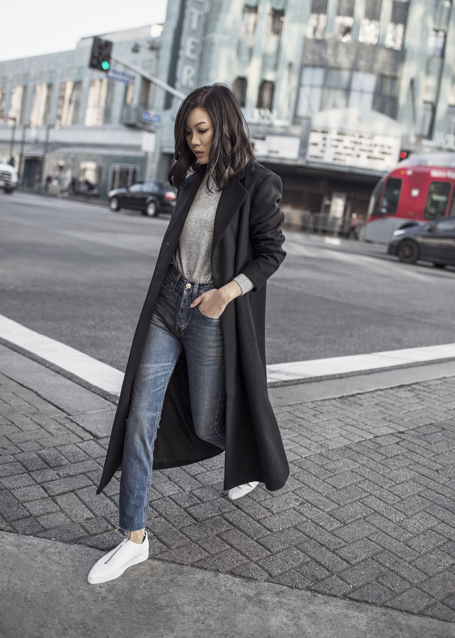 Jenny Tsang of Tsangtastic styling different ways to wear long coats