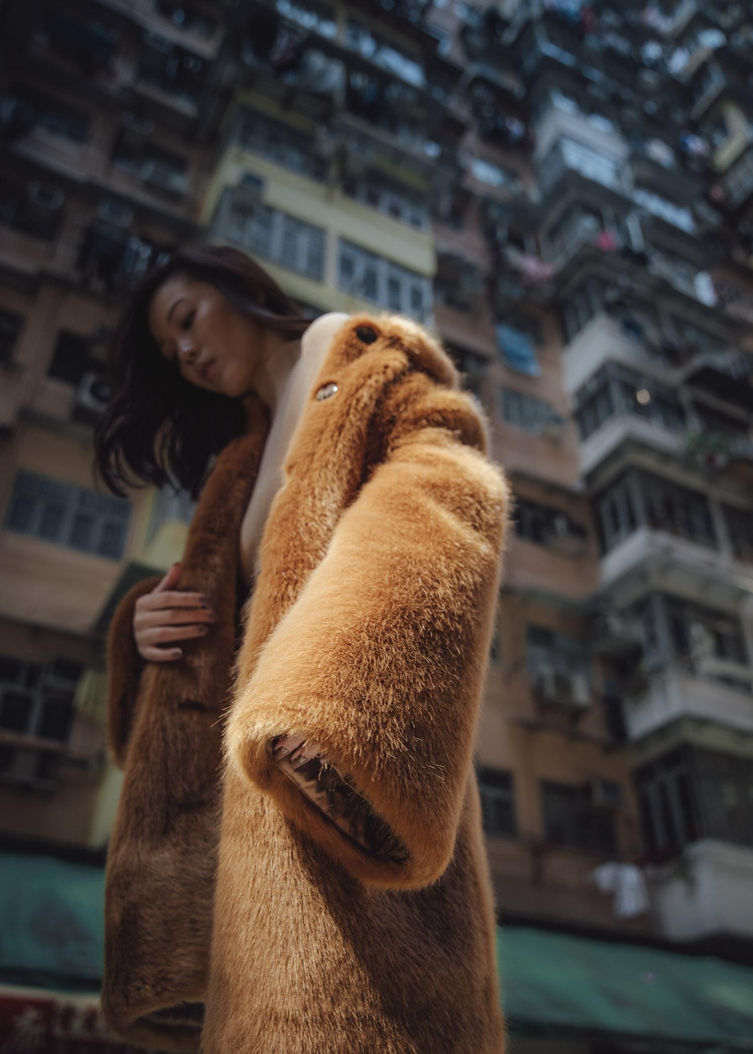 Jenny Tsang of Tsangtastic wearing fur teddy coat at Montane Mansion in Hong Kong