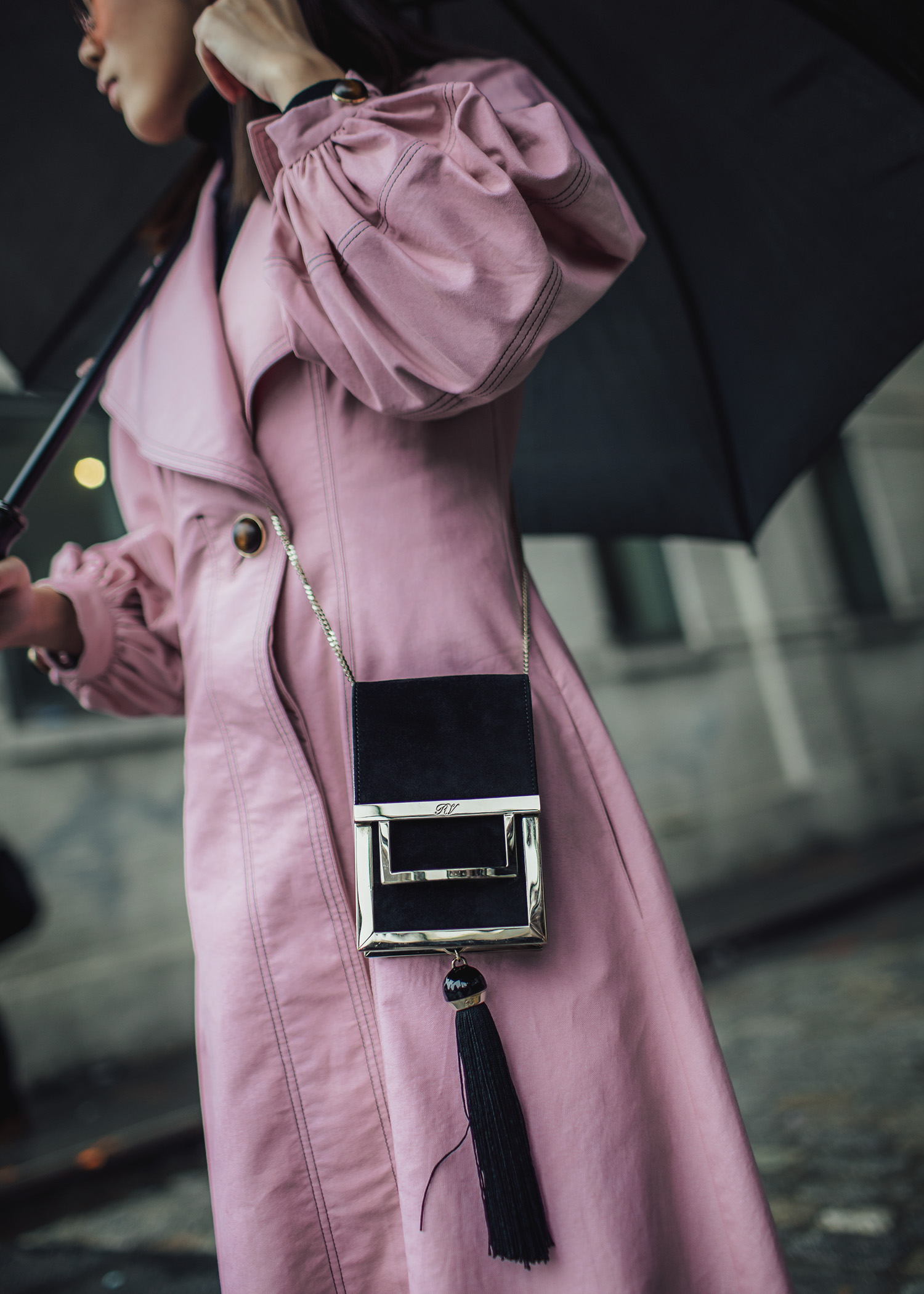 All pink outfit Jenny Tsang of Tsangtastic wearing claudia li pink coat dress roger vivier box bag sigerson morrison white pointed boots during new york fashion week