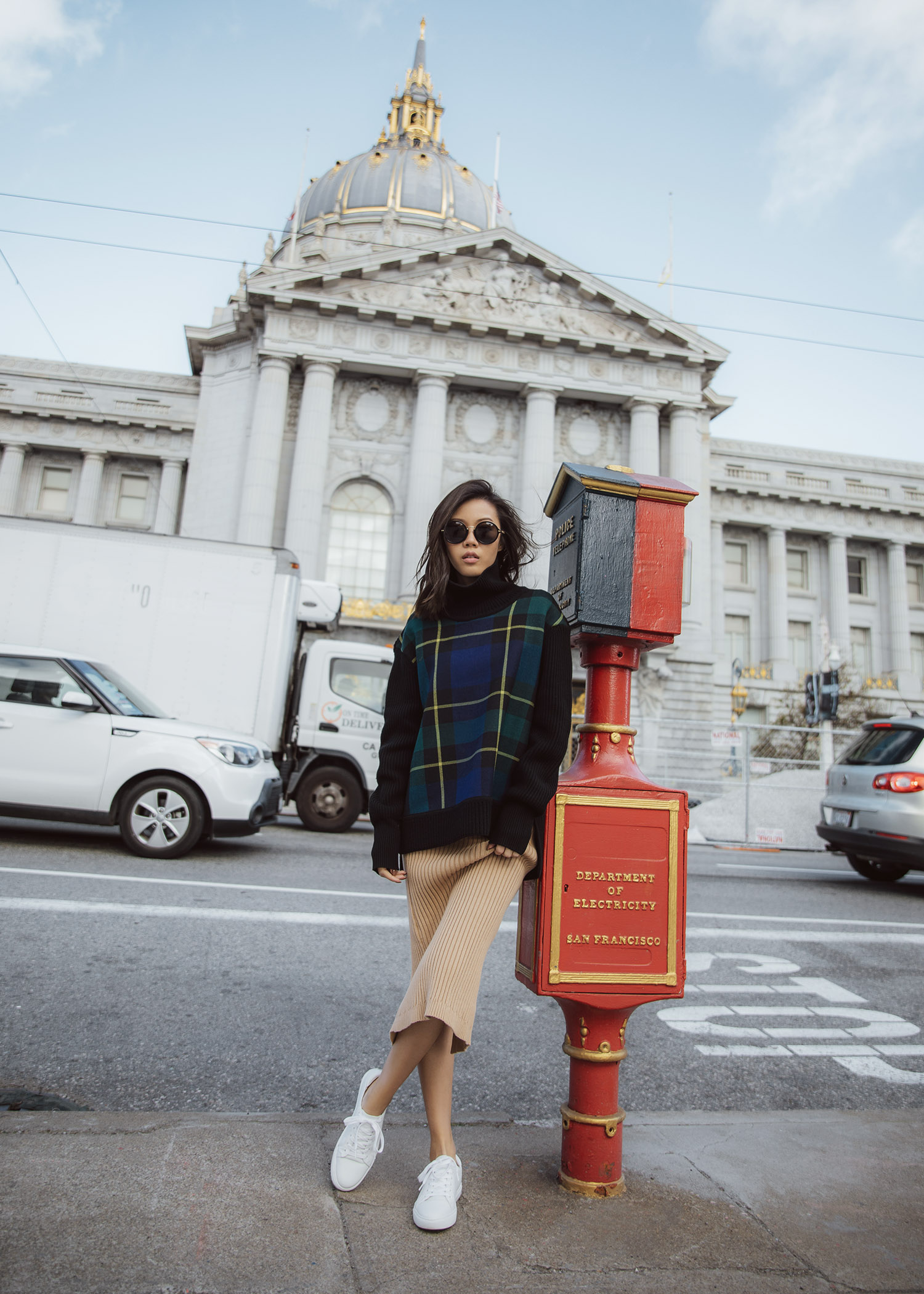 How to wear knit skirt - oversize sweater over knit skirt - Burberry tartan turtleneck bytsang knitted skirt in biscotti