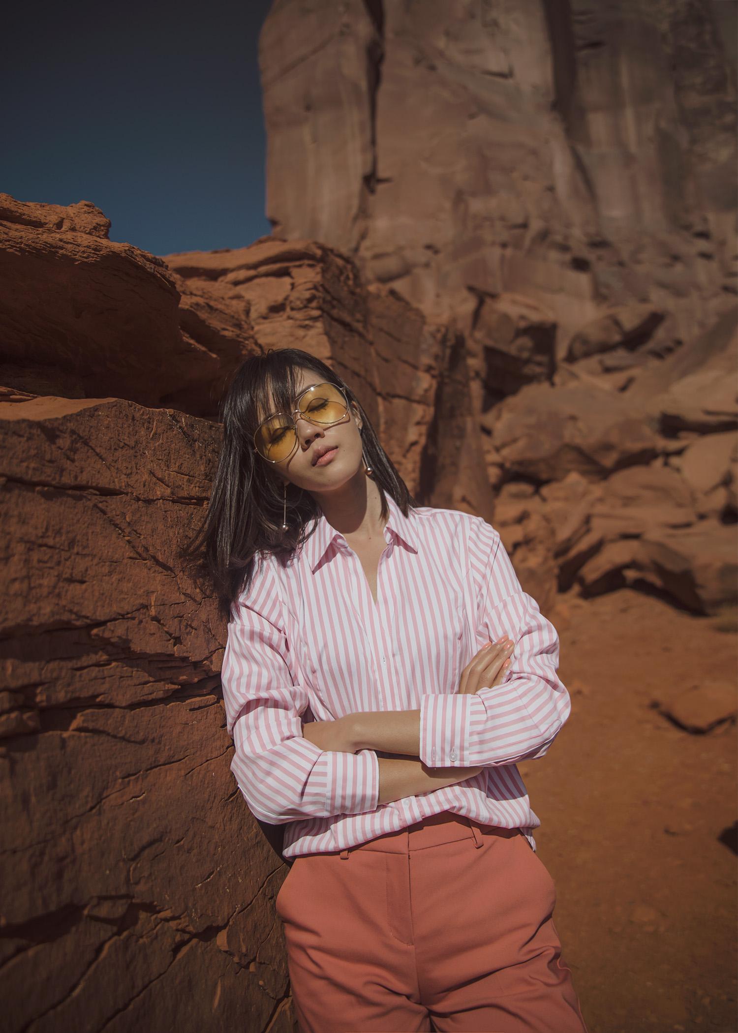 Jenny Tsang of Tsangtastic styling striped shirt dress pant sneakers in arizona