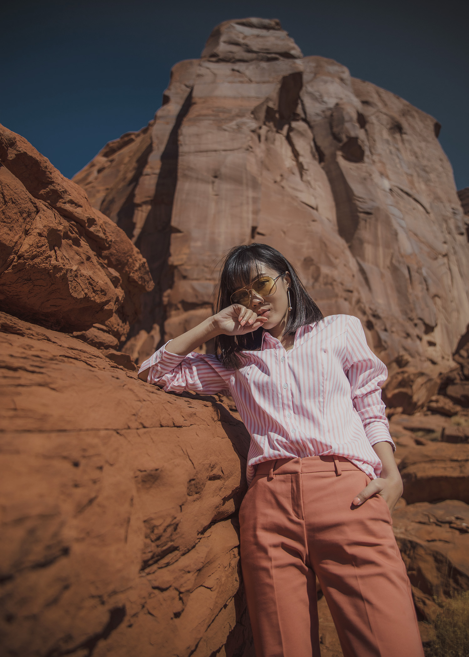 Jenny Tsang of Tsangtastic styling striped shirt dress pant sneakers in arizona