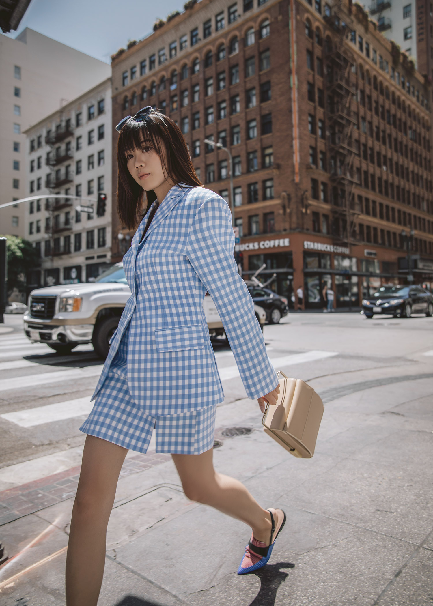 gingham matching set blazer skirt in Los Angeles