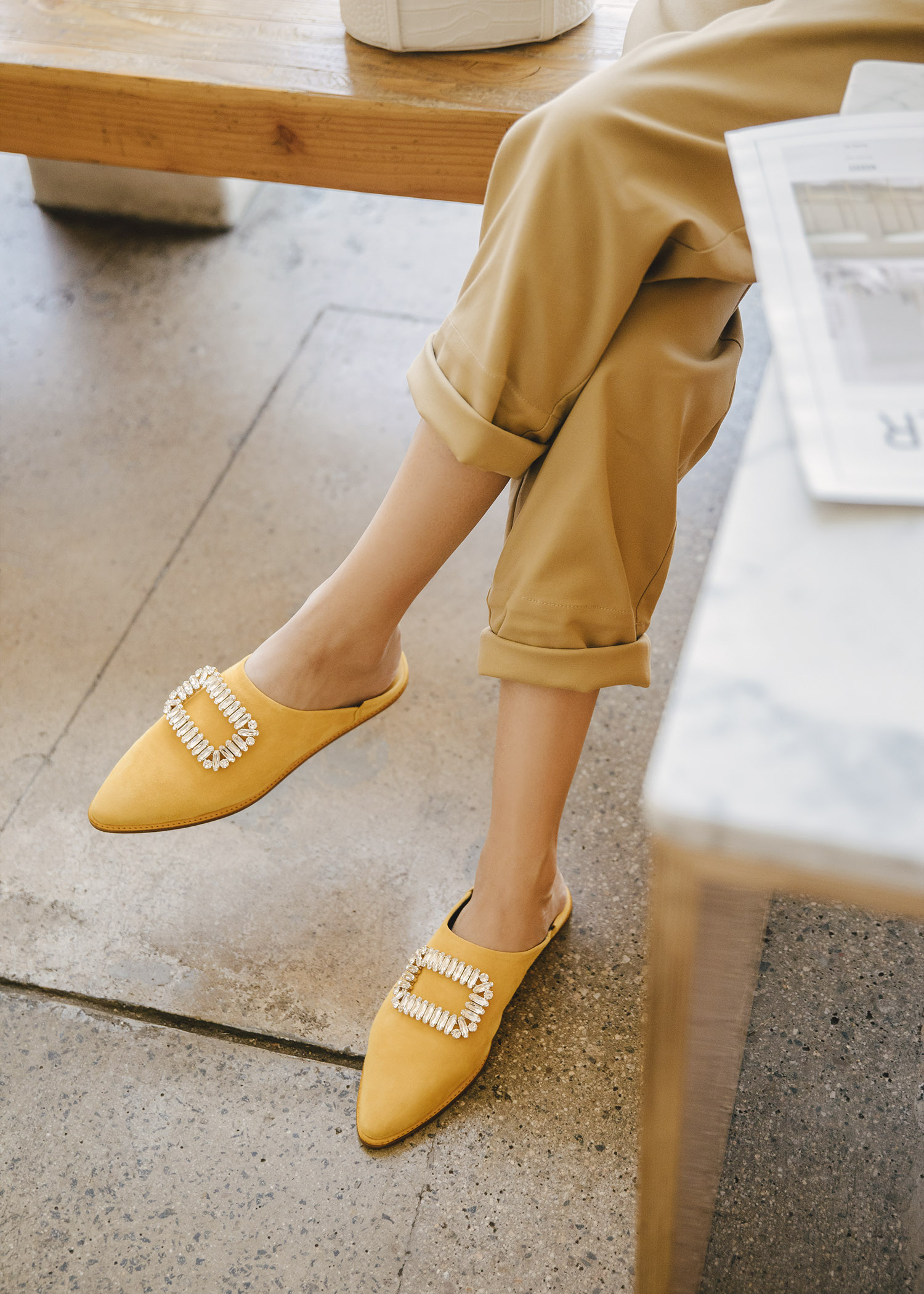 roger vivier bab viv mules in yellow suede with tank top with high-waisted pant