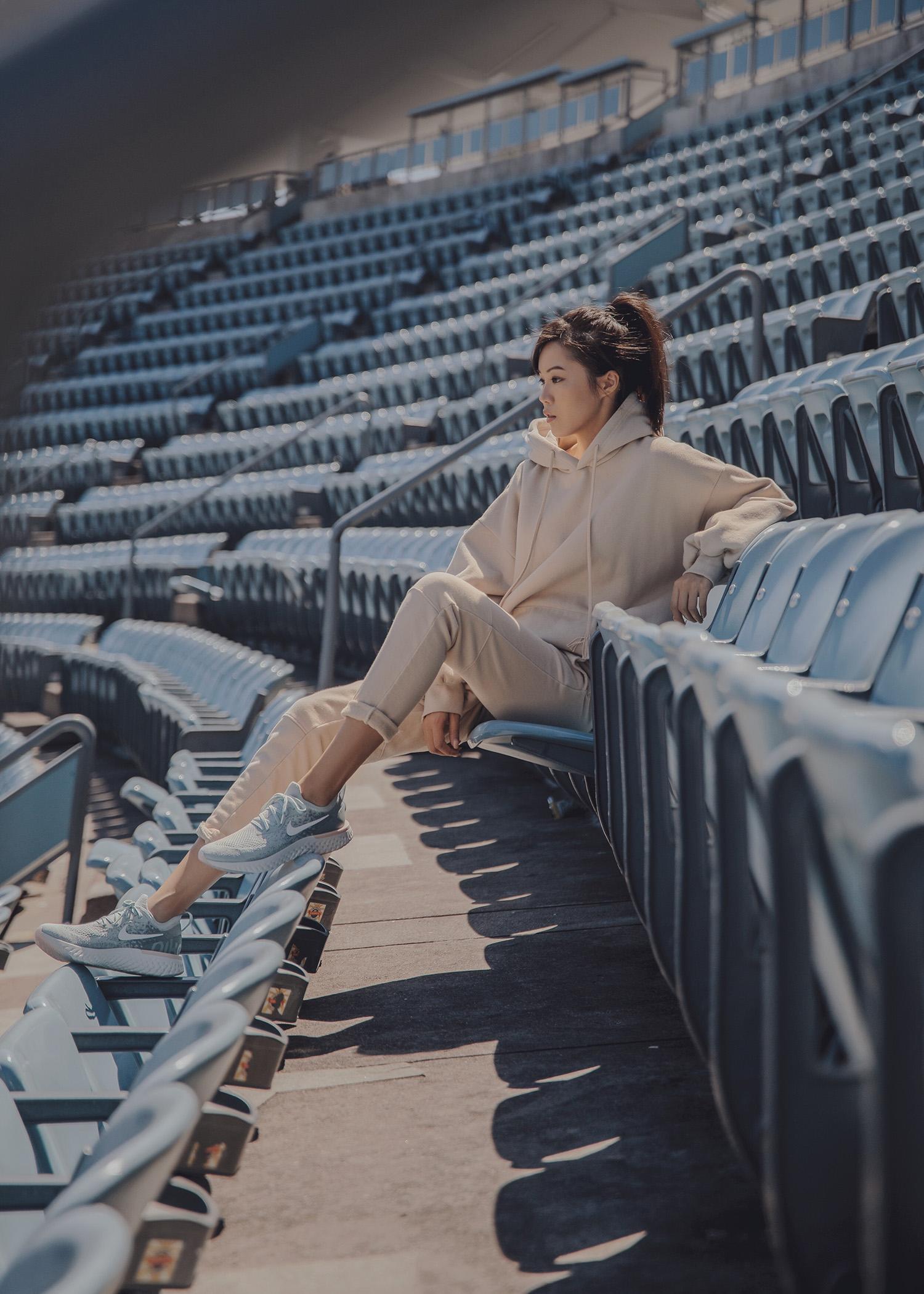Jenny Tsang of Tsangtastic wearing nike epic react sneakers athleisure fashion outfit