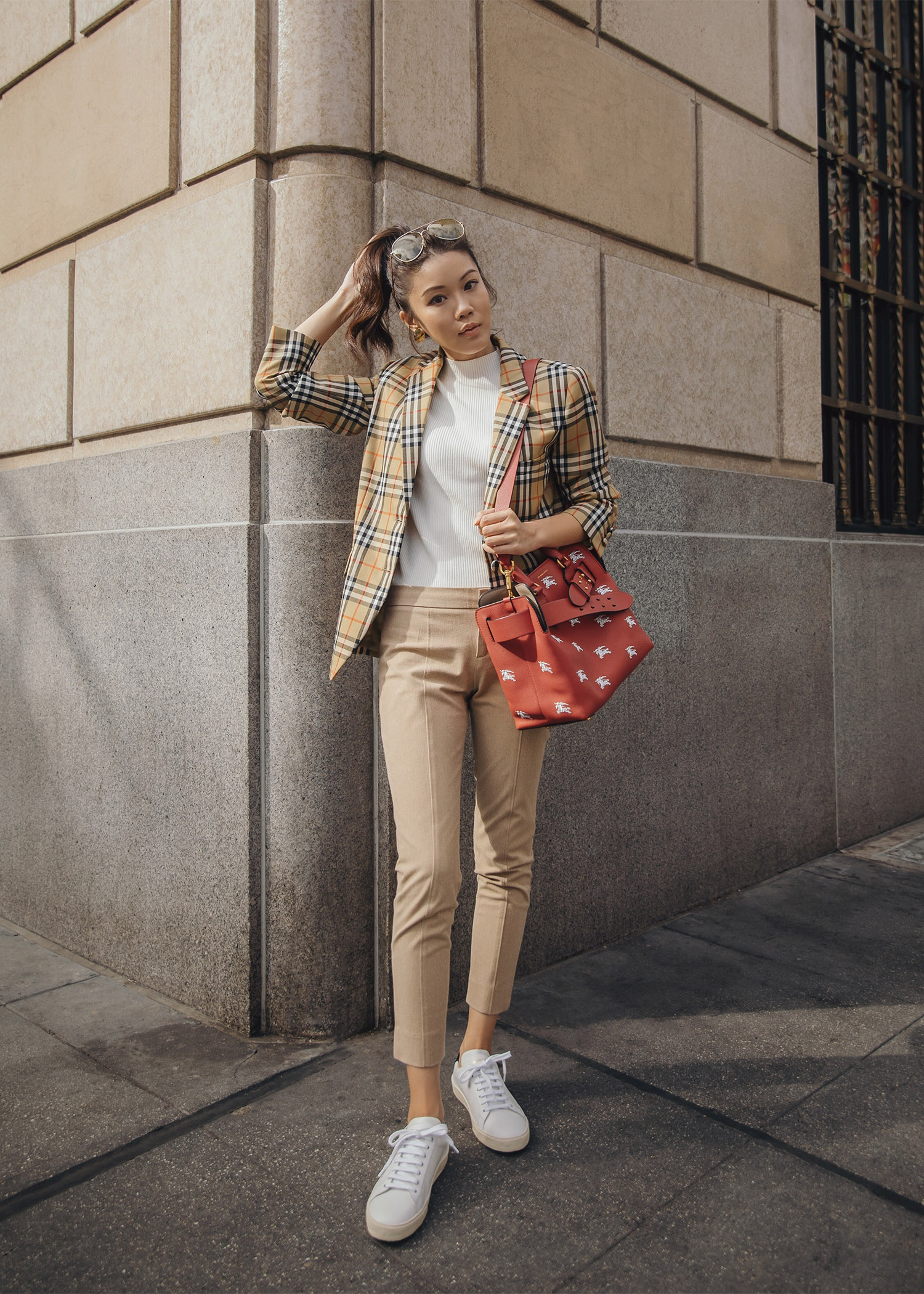 Jenny Tsang of Tsangtastic wearing burberry heritage check blazer exclusive belt bag plaid blazer outfit