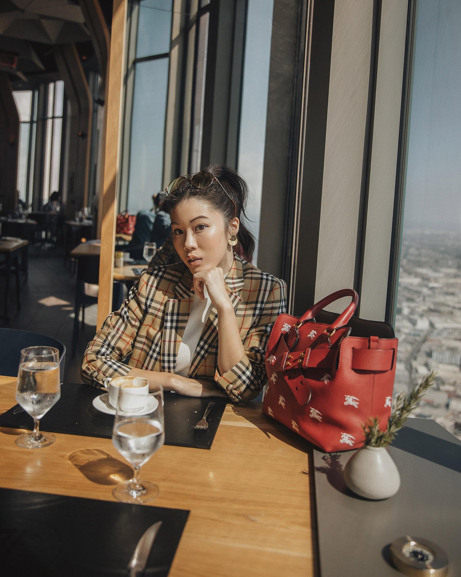 Jenny Tsang of Tsangtastic wearing burberry heritage check blazer exclusive belt bag plaid blazer outfit