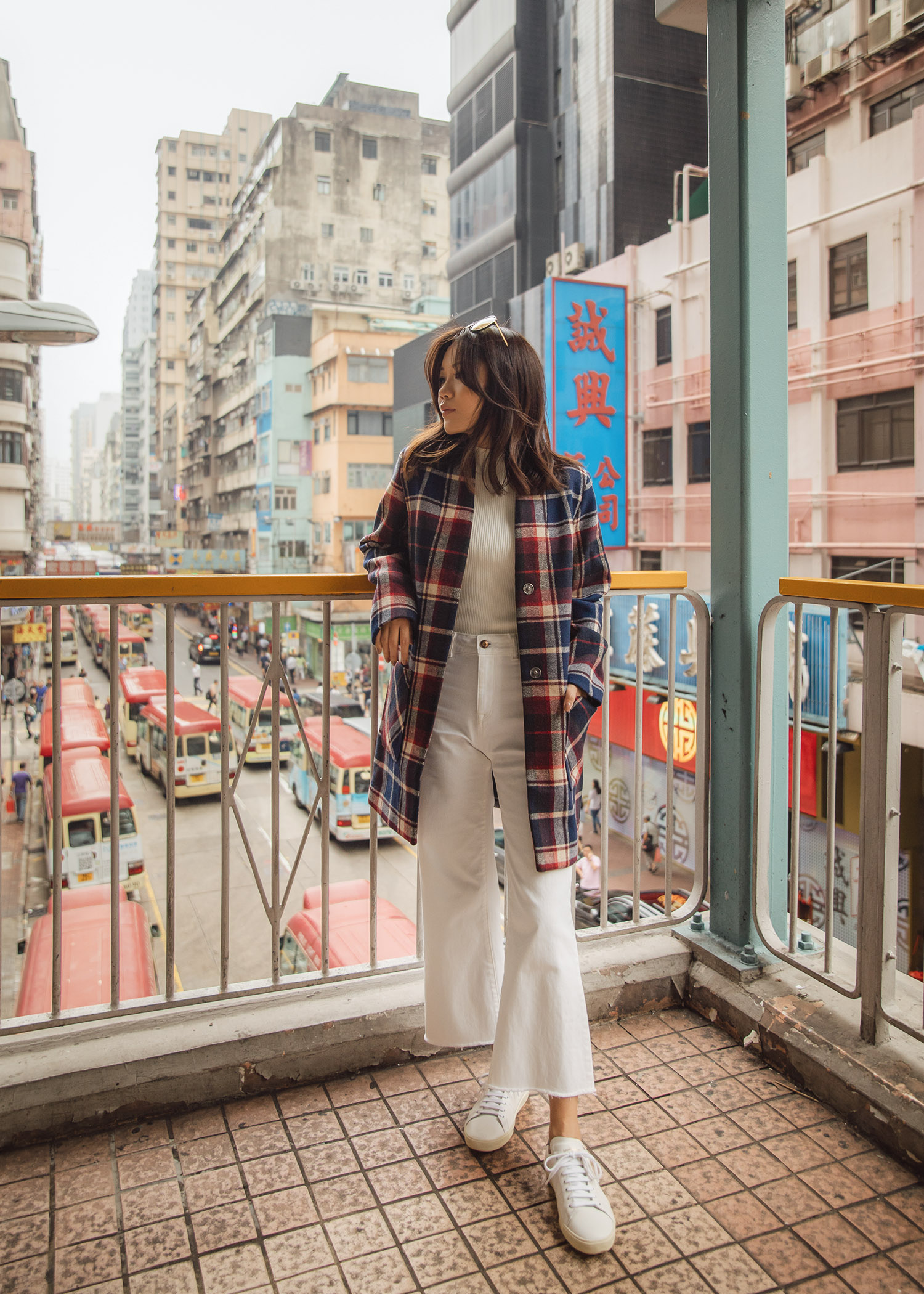 Jenny Tsang of Tsangtastic wearing abercrombie collarless plaid coat in Hong Kong