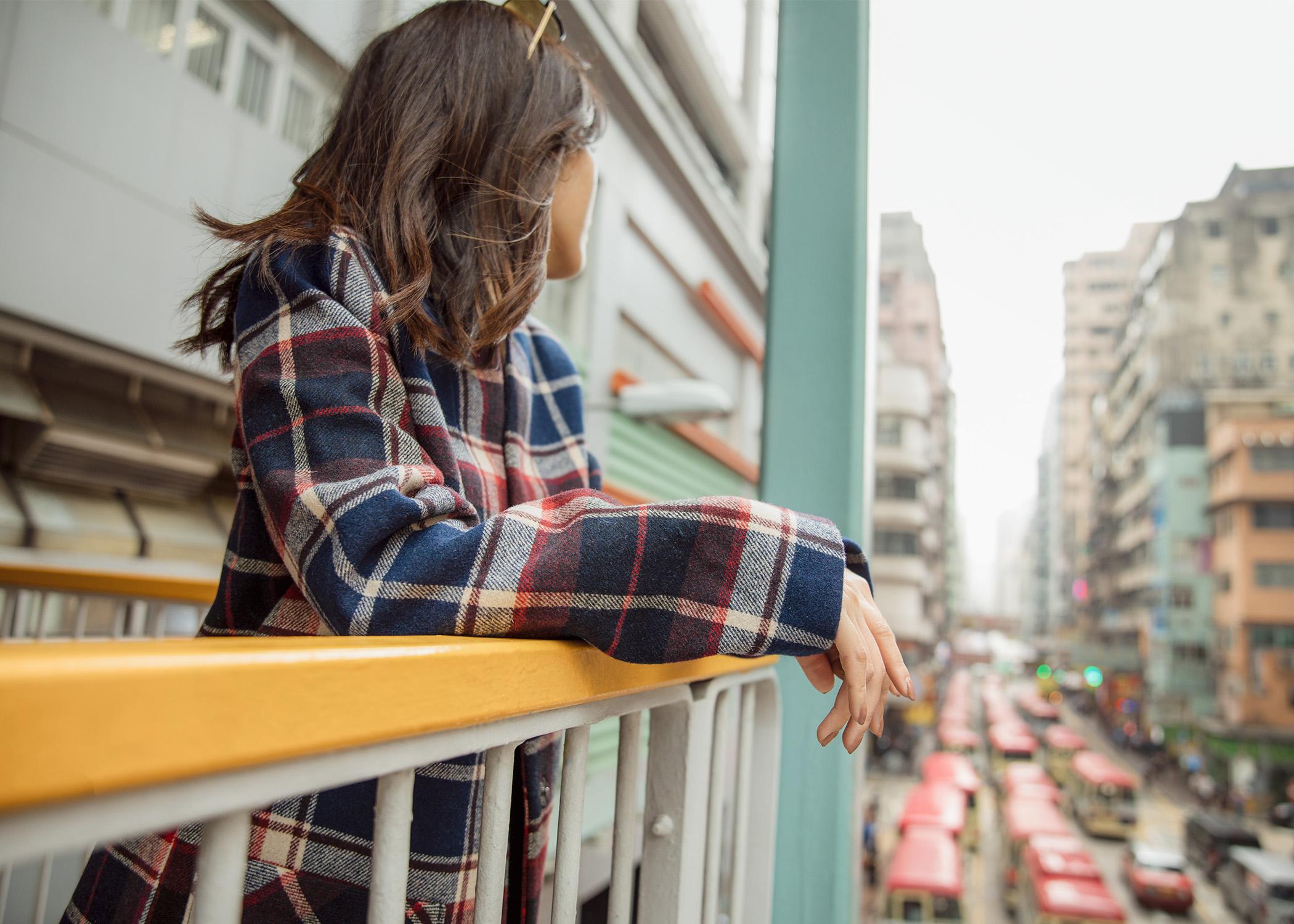 Jenny Tsang of Tsangtastic wearing abercrombie collarless plaid coat in Hong Kong