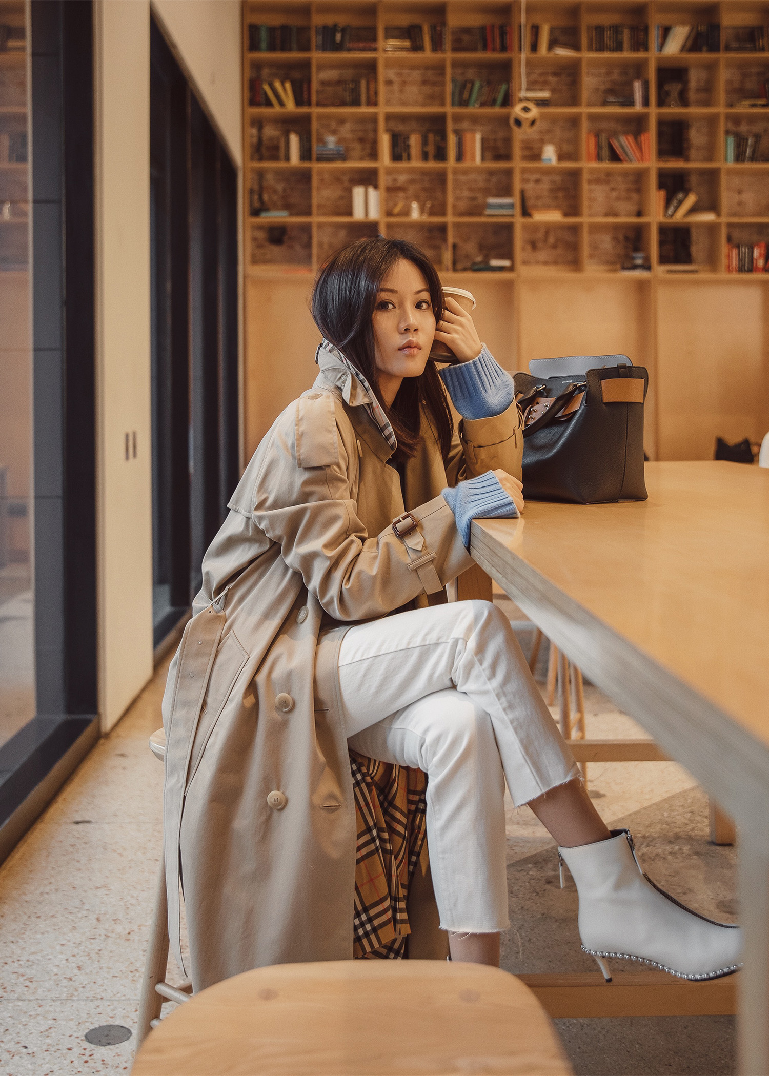 Jenny Tsang of Tsangtastic wearing Burberry the westminster long trench coat