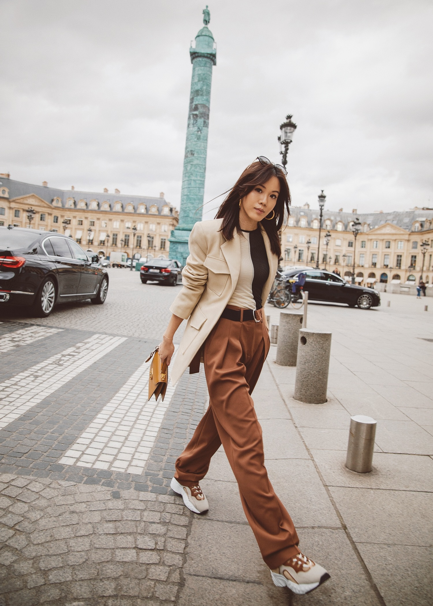 Jenny Tsang of Tsangtastic wearing Georgia Alice twill blazer victoria beckham pants acne studios manhattan sneakers in Paris