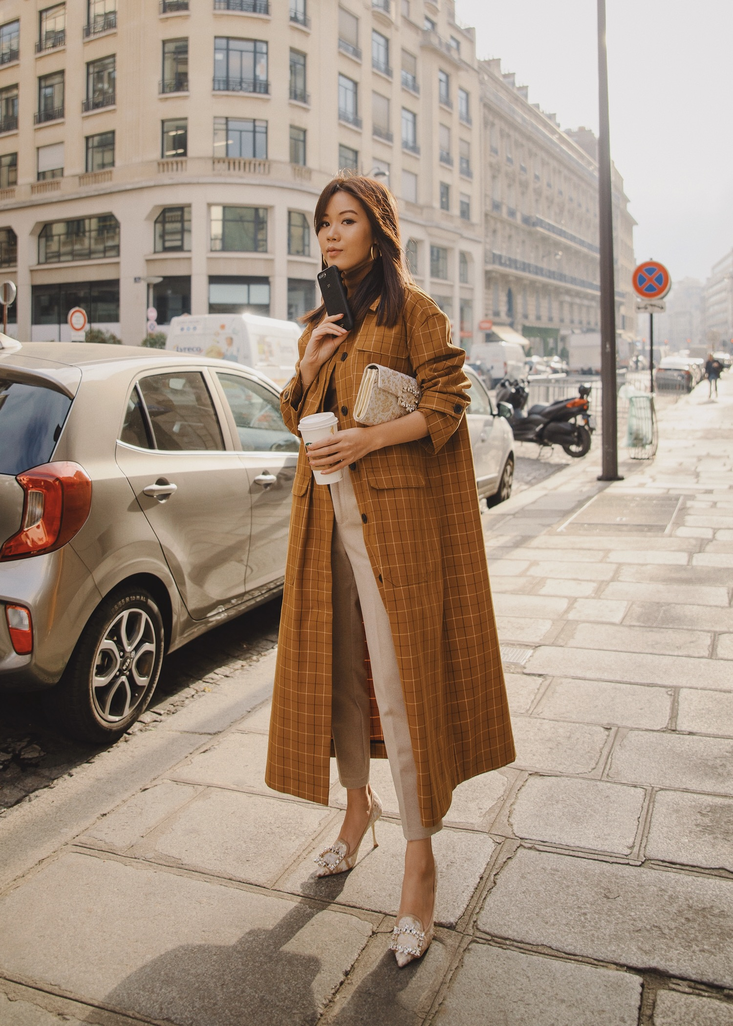 Jenny Tsang of Tsangtastic wearing Sea plaid trench coat with roger vivier pumps roger vivier clutch Paris Fashion Week
