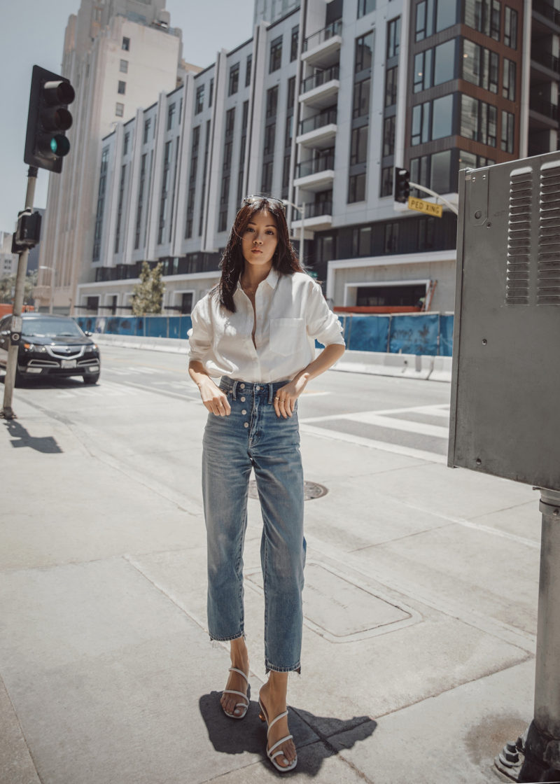 Summer Staples : White Shirt and Dad Jeans
